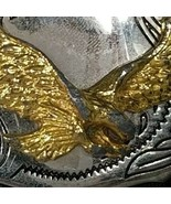VTG Western Gold Tone Eagle On Silvertone Buckle - $13.05