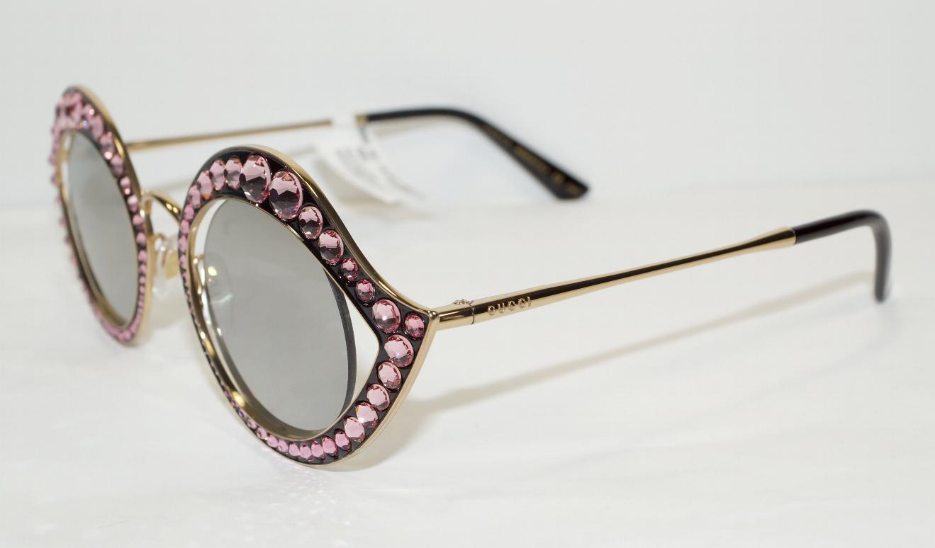 7a5be5ae8b7 NEW AUTH GUCCI CAT EYE LIPS GOLD PINK CRYSTAL SUNGLASSES GG0046S w CASE -  ITALY