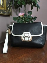 Coach Taylor Spectator Leather Flap Clutch Black White F50157 B24 - $79.19