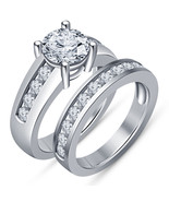 925 Sterling Silver Bridal Wedding Ring Set Round White Sim Diamond For Women's  - $89.99