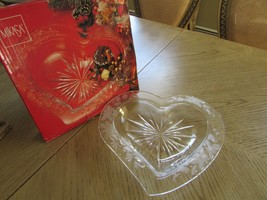 "GLASS SERVING PLATTER HEART SHAPED MIKASA CHRISTMAS LOVE 13"" FROST CLEAR... - $6.88"