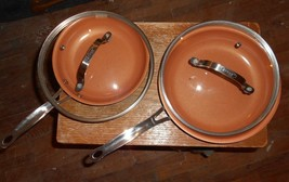 """4-lot gotham steel 2-10""""glass lids and 1-10""""skillet and 1-81/2""""skillet n... - $19.79"""