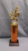 Halloween flying witch trophy wide orange column  jack-o-lantern - $8.41