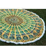 56 Inches Round Green Peacock Tapestry Beach Towel India Handmade 100% C... - $21.98
