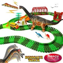 URTOYPIA Dinosaur Toys Race Car Track, 219PCS Dinosaur Race Track Play Set with