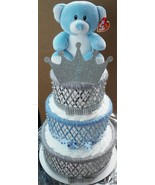 3 Tier Blue and Silver Teddy Bear Prince Baby Shower Diaper Cake Centerp... - $75.00