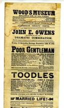 Wood's Museum Program Flyer 1868 Broadway & 30th St New York City John E... - $124.07