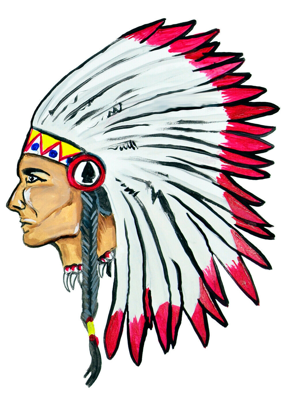 Big Indian Chief Head Sticker Decal Home Office Dorm Wall Exclusive Art Tablet - $5.99 - $14.95