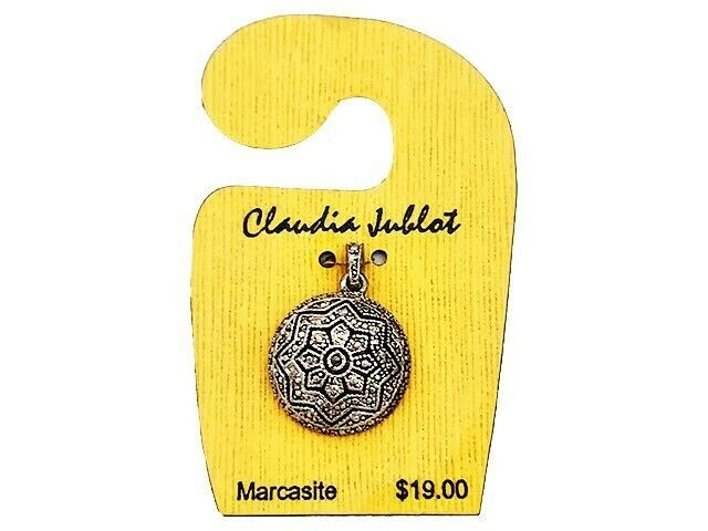 Claudia Jublot Marcasite Domed Round Flower Charm with Bail