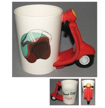 Motorcycle 3D Handle Retro Red Scooter Mugs Ceramic Coffee Milk Tea Cup - $31.95
