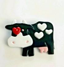 VTG Hallmark Collectible Pin~ 1989 Valentine's Day Cow Brooch Red & Whit... - $9.85