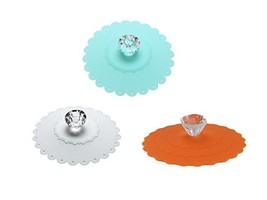 AKOAK 3 PCS New Cute Anti-dust Silicone Acrylic Diamond Glass Cup Cover ... - $8.83