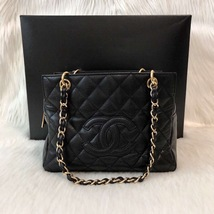 AUTHENTIC CHANEL QUILTED CAVIAR PST PETITE SHOPPING TOTE BAG BLACK SHW RECEIPT image 6