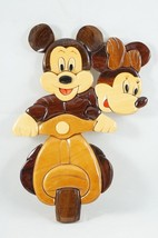 Vtg Disney Mickey Minnie Mouse Scooter Wall Decoration Wood Intarsia Mar... - $47.89