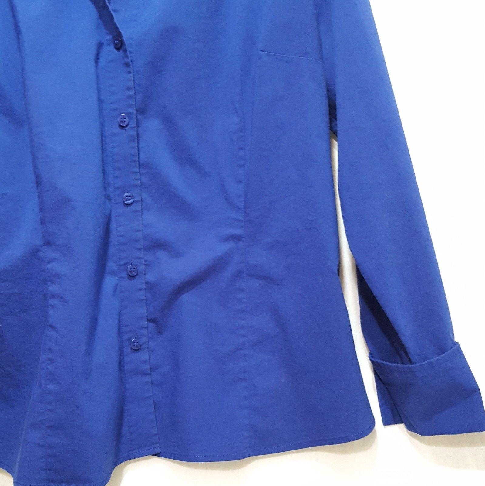 Worthington Shirt Collared Blue Long Sleeve Blouse Size 18