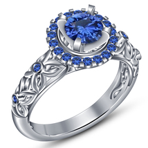 925 Pure Sterling Silver 14k White Gold Plated Round Blue Sapphire Weddi... - $74.25