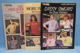 3 Vintage Leisure Arts Cross Stitch Leaflets for Sweaters & Sweats - $8.90