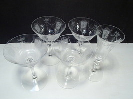Heisey Renaissance ~ 4 Vintage Acid Etched Saucer Champagnes & 1 Flute ~   - $45.95