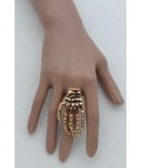 Women Gold Metal Ring Fashion Jewelry Skeleton Fingers Hand Skull Bones ... - $24.48