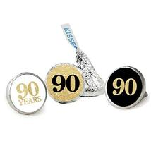 90th Birthday Favor Stickers, Kisses Candy Stickers, Gold Glitter, 324 Total Lab - $13.37