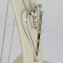 18K WHITE GOLD NECKLACE, BIG HEART PENDANT, 0.44 CARATS DIAMONDS, EAR CHAIN image 7