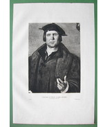 ORIGINAL ETCHING - Portrait of a Man after Painting by Holbein - $22.95