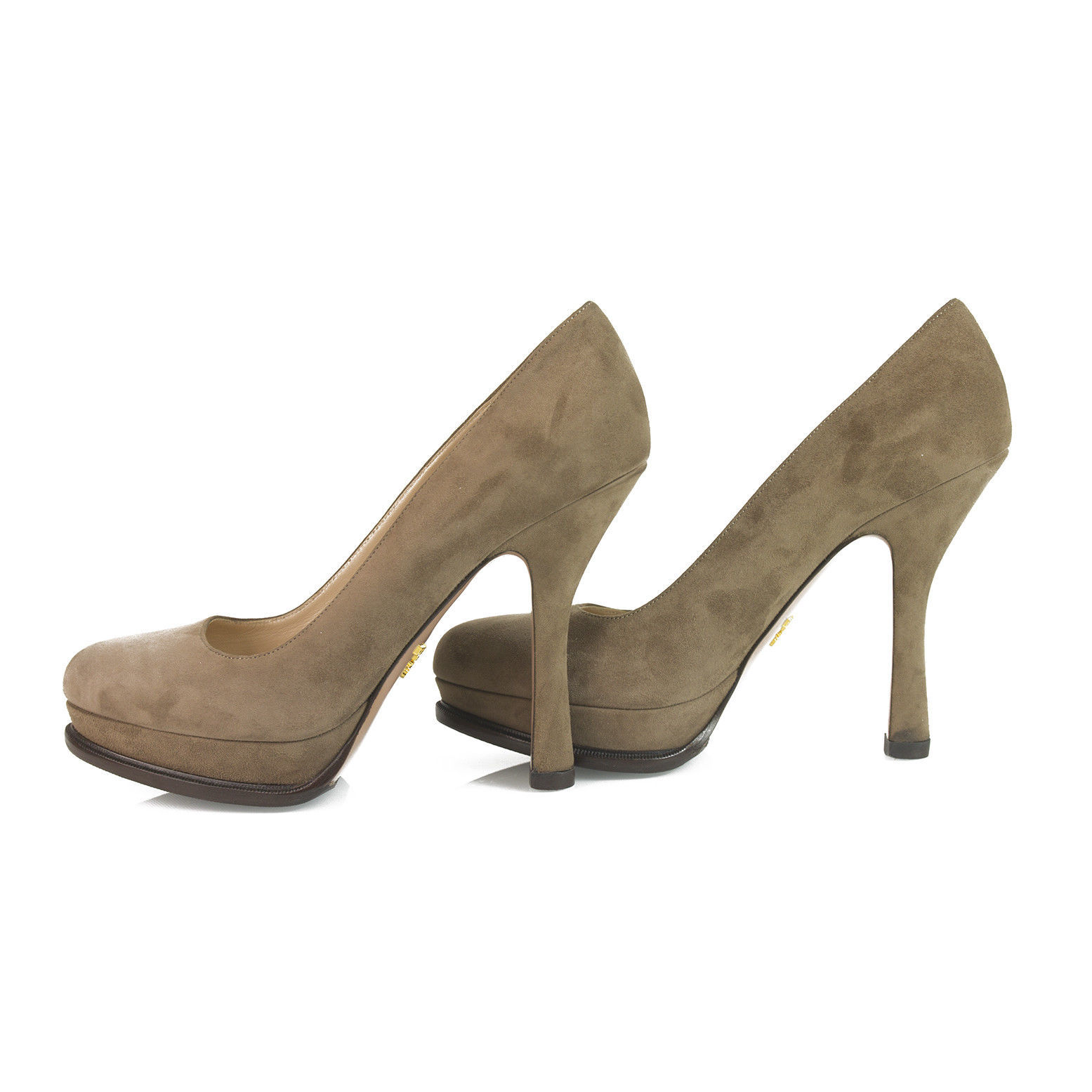 Prada Taupe Brown Suede Leather Classic Pumps Round Toe Slim Heel Platform sz 40 image 4