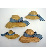 Burwood Wall Decor Straw Hats Summer Gardening Homco Home Interiors set ... - $11.87