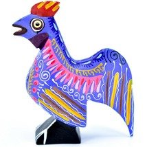 Handmade Alebrijes Oaxacan Wood Carved Painted Folk Art Rooster Chicken Figurine