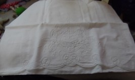 Vintage Set of 2 white Battenberg lace pillowcases - $16.50