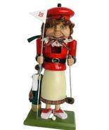 BRN Lady Golfer Figurine Wooden Nutcracker 19th Hole Golfer Curley Red Hair - $29.70