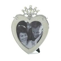 "Beautiful Pewter Heart Shaped Frame w/ Rhinestone Crown Holds 5"" x 5"" Photo - $33.45"
