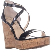 Jessica Simpson Stassi Ankle Strap Wedge Sandals, Black, 7.5 US - $32.63