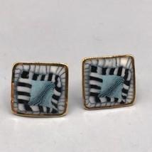Vintage Enamel & Gold Tone Clip On Earrings - $44.54