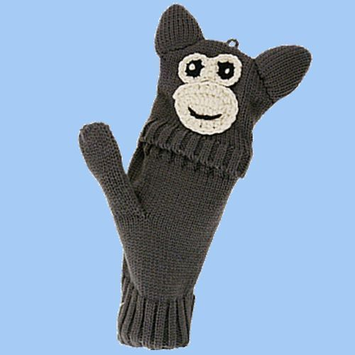 Flip Mittens Monkey - Unisex One Size Fits Most - Mittens to Fingerless Gloves