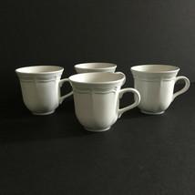 Mikasa White Mugs Set of 4 FRENCH COUNTRYSIDE F9000 Coffee Tea Cups 11 oz - $28.20