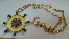 vintage Long enamel nautical Ship Wheel Pendant Necklace - $19.31