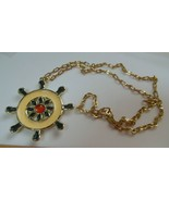 vintage Long enamel nautical Ship Wheel Pendant Necklace - $19.50