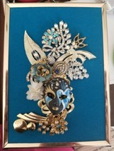 "Vintage and modern jewelry art framed "" Blue Mask"" - $34.65"