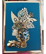 "Vintage and modern jewelry art framed "" Blue Mask"" - $34.65"