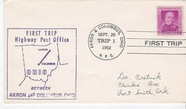 FIRST TRIP H.P.O. AKRON OHIO & COLUMBUS OHIO SEPT 20 1952 TRIP 1 - $1.78