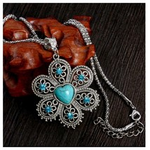Turquoise Heart & Flower Pendant Necklace With Chain, Antique Vintage Style - $3.99