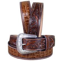 U-8-44 44 Inch M&F Western Nocona Leather Mens Belt Gator Tooled Rich Earth Bro - $43.95