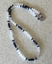 White Catseye and Navy Blue Dyed Howlite Beaded Necklace - $8.50