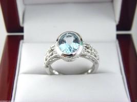 Aquamarine & Diamond Ring in 14K White Gold Sz 7 - $283.22