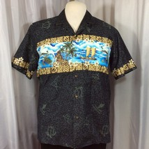 Royal Creations Mens Hawaiian Aloha Shirt XL Hibiscus Glyphs Tapas Turtl... - $49.49