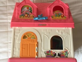 Mattel Little People House Pink White Blue Table Chair Father Mother Kids Girls - $14.99