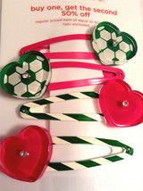 Gymboree I Love Soccer Collection Hair Barrette Clips NWT Hearts Summer Out Girl - $12.95