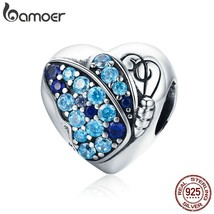 BAMOER Romantic Authentic 925 Sterling Silver Butterfly Flower Love Hear... - $26.06