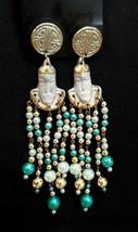 Vintage Primitive Bohemian Tribal Dangly Long Beaded Pierced Earrings Bali NEW - $32.73